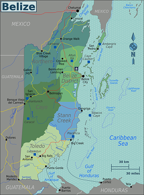 Belize_Regions_map